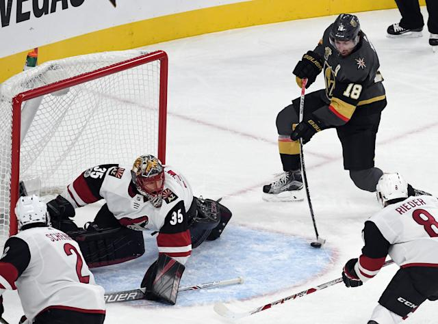 <p>Jame Neal, the Golden Knights' best player, continued his scorching start by scoring two goals in the first period to give Vegas a commanding lead they would never relinquish. (Ethan Miller/Getty Images) </p>