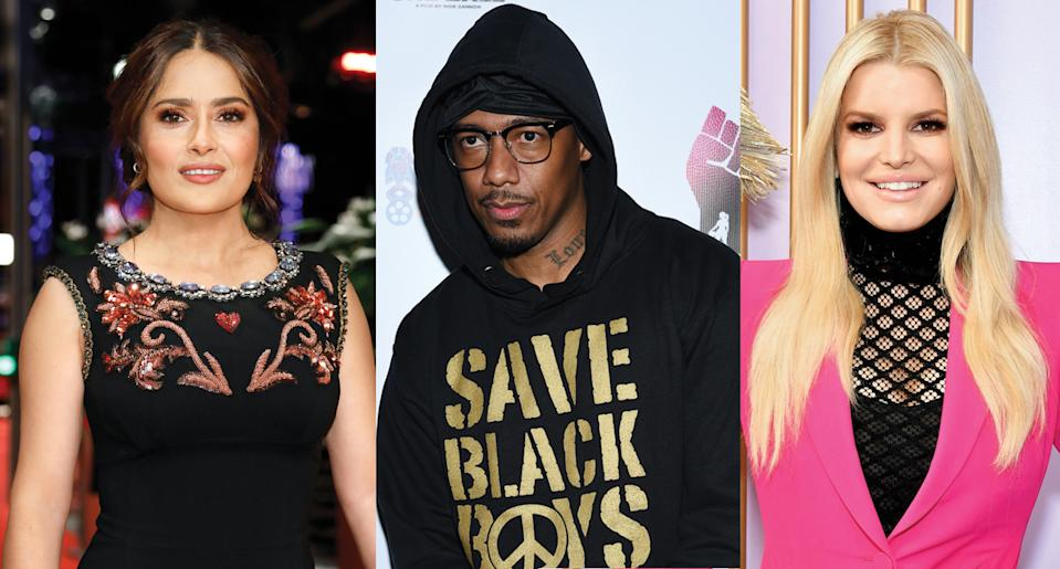 Salma Hayek, Nick Cannon and Jessica Simpson have all talked about their COVID-19 experiences. (Photo: Getty Images)