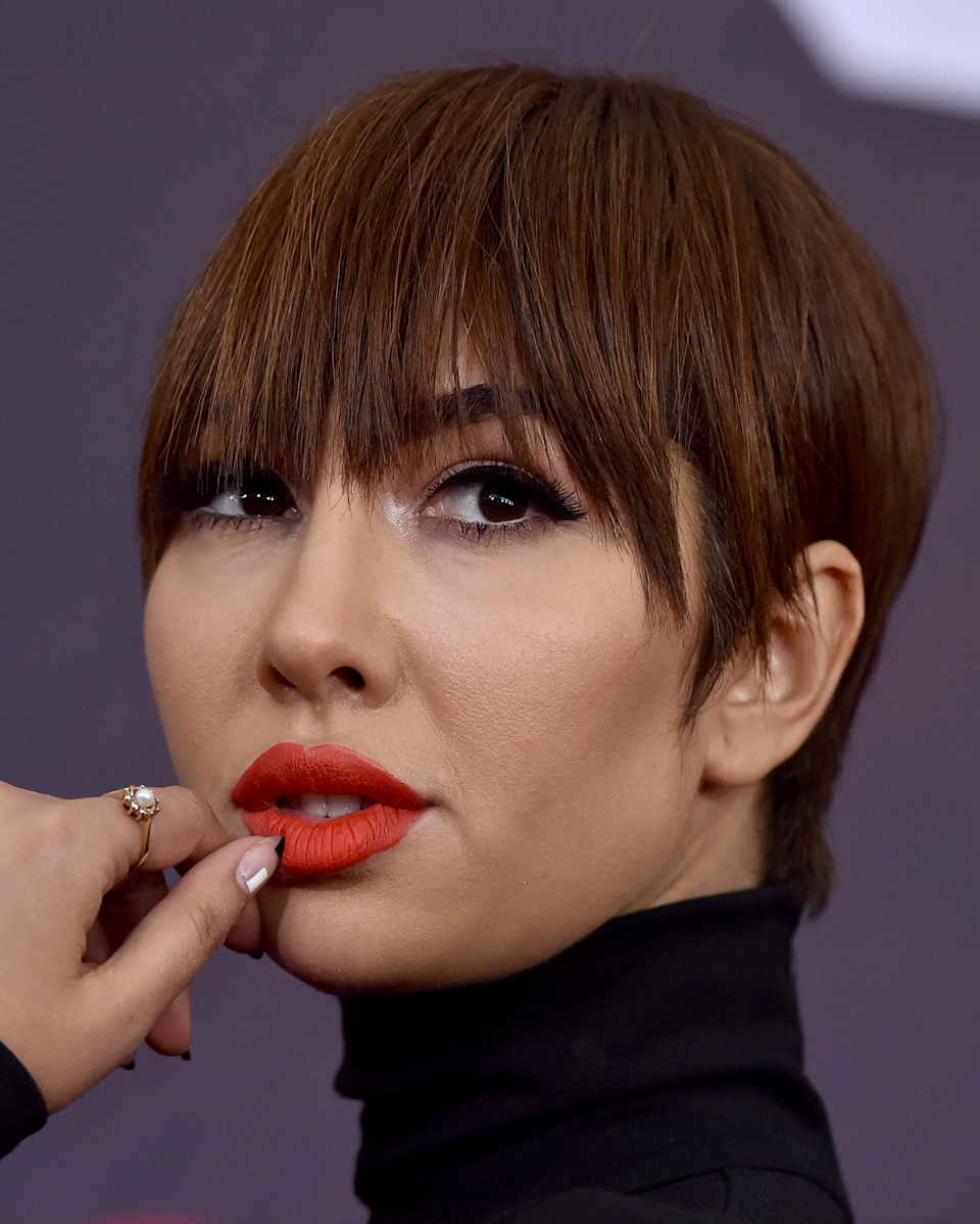Sleek, straight, XXL-length bangs take a basic pixie into badass territory. It's perfect if you want to draw more attention to your eyes.