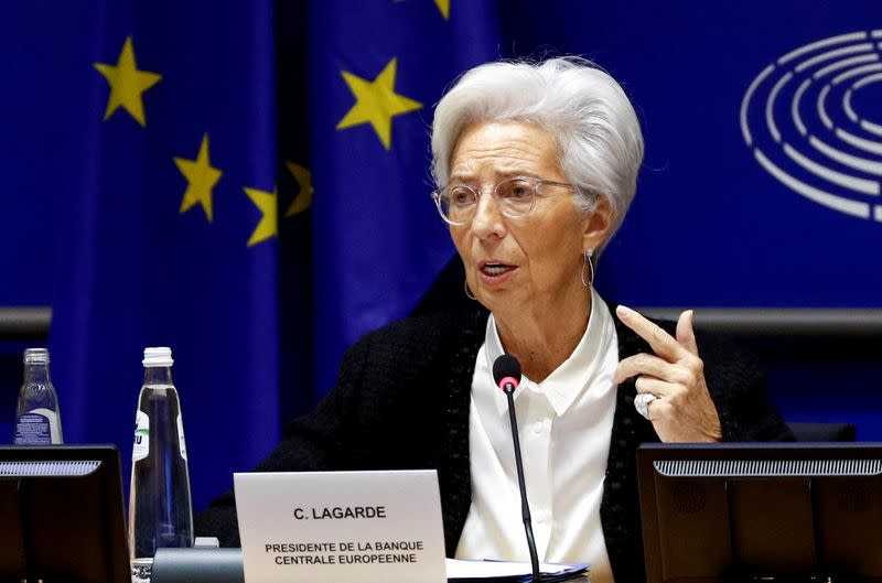 FILE PHOTO: European Central Bank President Christine Lagarde in Brussels, Belgium