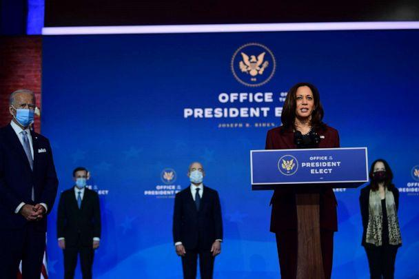 PHOTO: Vice President-elect Kamala Harris speaks after President-elect Joe Biden introduced key foreign policy and national security nominees and appointments at the Queen Theatre on Nov. 24, 2020, in Wilmington, Del. (Mark Makela/Getty Images)
