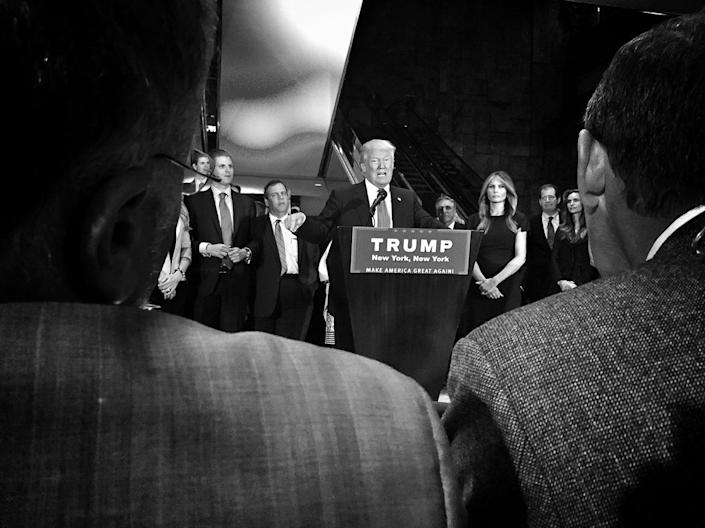 <p>Donald Trump speaks at an election night press conference on April 26 at Trump Tower in New York. (Photo: Holly Bailey/Yahoo News) </p>