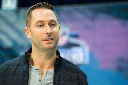 Feb 27, 2019; Indianapolis, IN, USA; Arizona Cardinals head coach Kliff Kingsbury speaks to media during the 2019 NFL Combine at Indianapolis Convention Center. Mandatory Credit: Trevor Ruszkowski-USA TODAY Sports