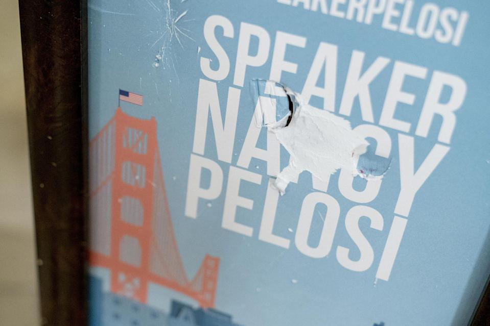 <p>The sign in front of the office of Speaker of the House Nancy Pelosi was damaged in the chaos. </p>
