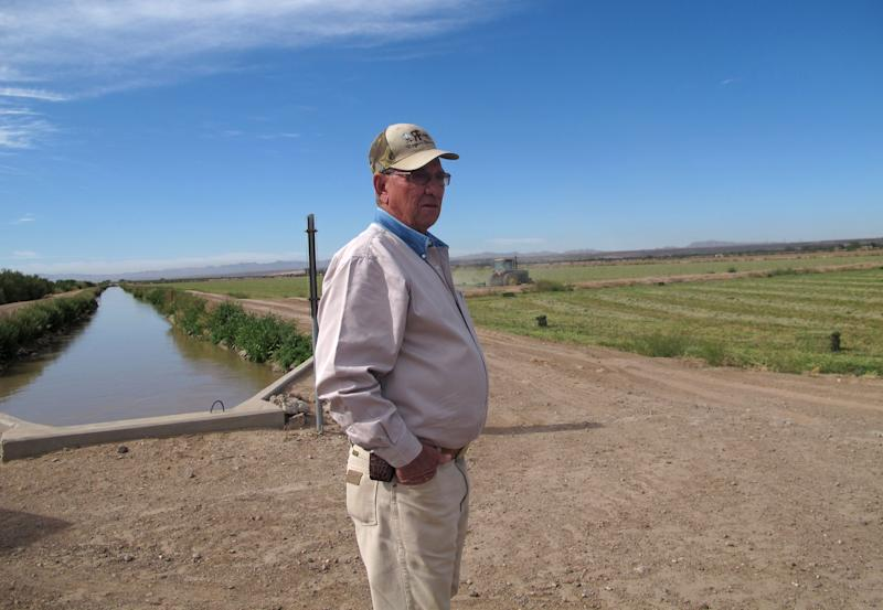 In this April 13, 2012 photo, farmer Jerry Rogers talks in his alfalfa field in Clint, Texas.  An early springtime release of water to farmers on both sides of the river requested by Mexico and opposed by Texans has caused farmers to fear water shortages during the summer.  (AP Photo/Juan Carlos Llorca)