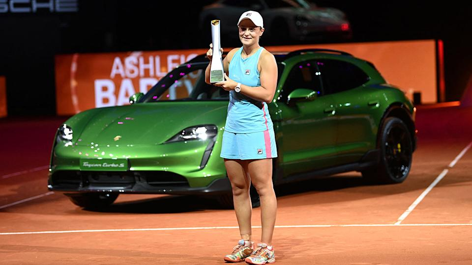 Ash Barty, pictured here winning the Porsche Open in Stuttgart.