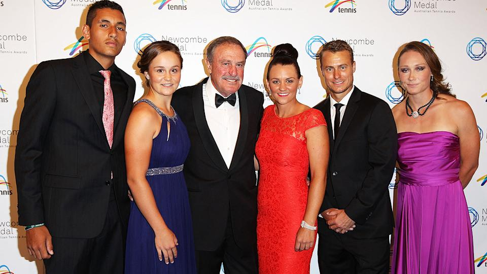 Nick Kyrgios, Ash Barty and Sam Stosur, pictured here at the 2013 Newcombe Medal.