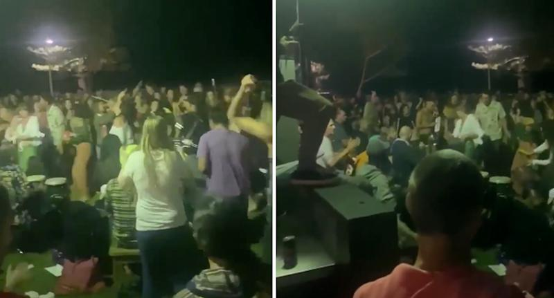 A large crowd of people dancing at Burleigh Heads on Sunday night. Source: Facebook