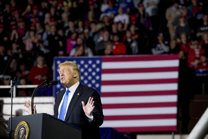 President Donald Trump speaks at a rally at Alumni Coliseum in Richmond, Ky., Saturday, Oct. 13, 2018. (AP Photo/Andrew Harnik)