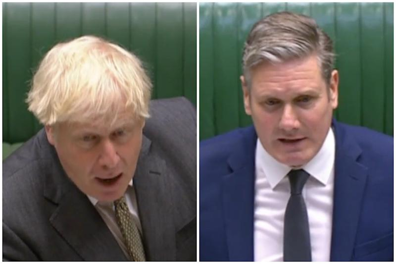 PMQs clash: Boris Johnson and Keir Starmer. (Parliamentlive.tv)