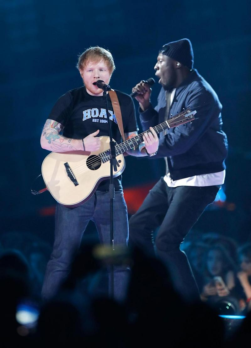 Record holder: Ed Sheeran performing with Stormzy at the BRIT Awards last month (Dave Benett)
