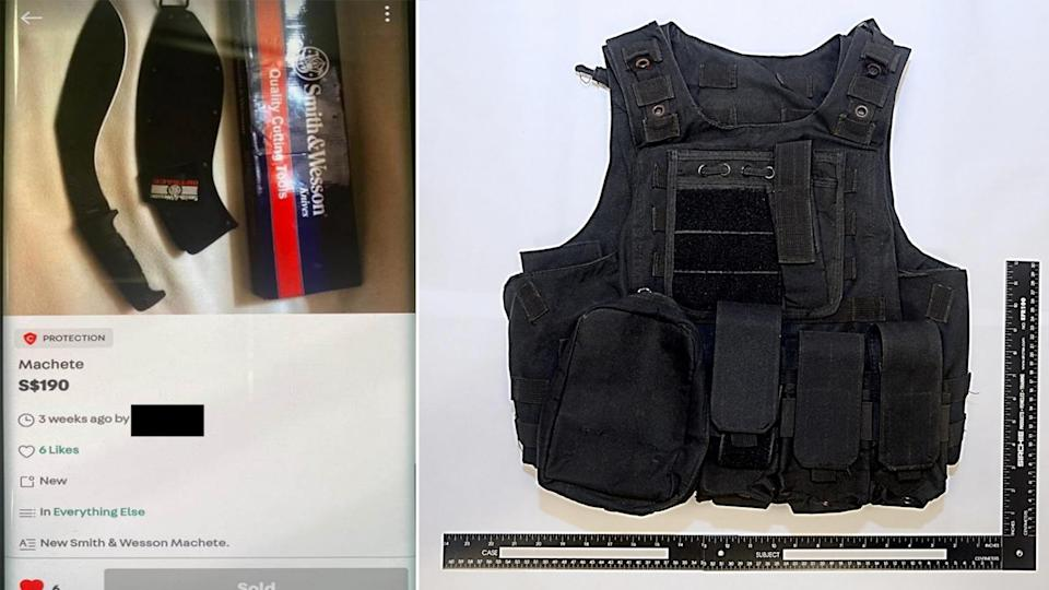The Carousell listing (left) of the machete that the youth had intended to purchase for his attacks and the tactical vest (right) that he bought online for the same purpose. (PHOTOS: MHA)