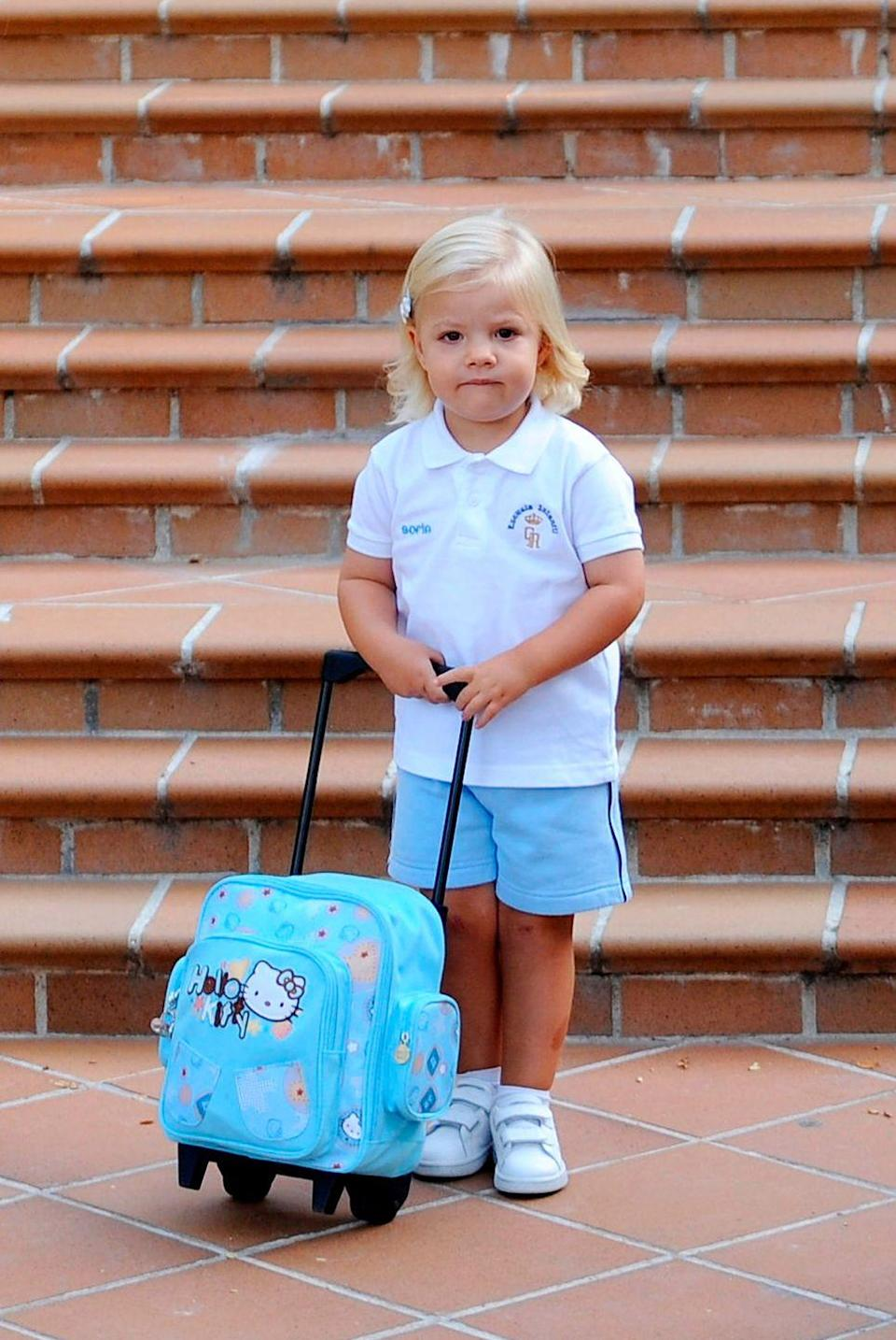 <p>The following year, Princess Leonor's sister, Princess Sofia, attends her first day of school at El Pardo Infants School in Madrid, Spain.</p>