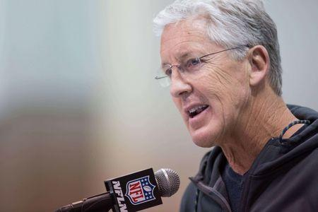 Mar 2, 2017; Indianapolis, IN, USA; Seattle Seahawks head coach Pete Carroll speaks to the media during the 2017 combine at Indiana Convention Center. Mandatory Credit: Trevor Ruszkowski-USA TODAY Sports