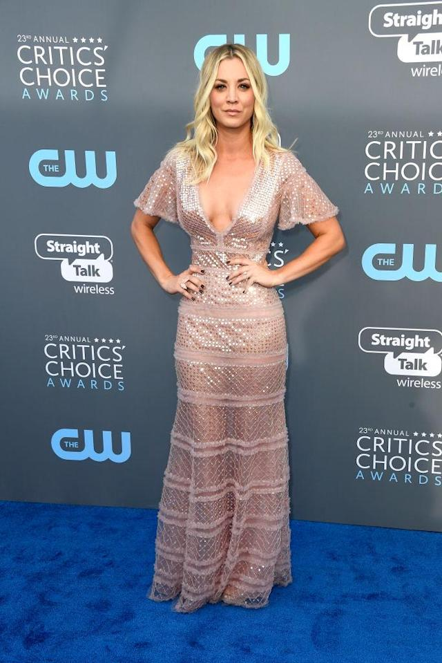 Kaley Cuoco attends The 23rd Annual Critics' Choice Awards at Barker Hangar on January 11, 2018 in Santa Monica, California. (Photo: Getty Images)