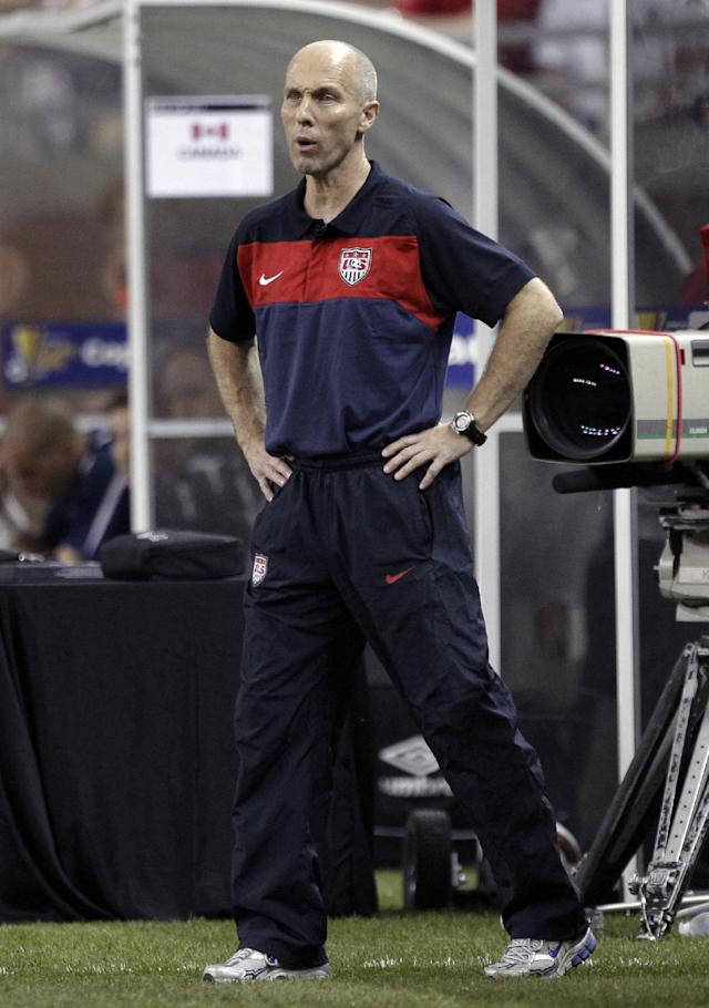 FILE - In this June 7, 2011 file photo, then United States head coach Bob Bradley watches against Canada in the first half of a CONCACAF Gold Cup soccer match at Ford Field in Detroit. Bradley, along with Kristine Lilly and Brian McBride, on Monday, Feb. 24, 2014 were elected to the U.S. National Soccer Hall of Fame. (AP Photo/Paul Sancya, File)