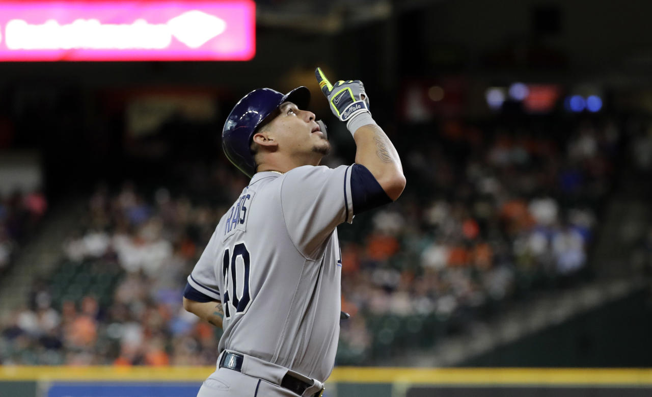 Tampa Bay Rays' Wilson Ramos celebrates after hitting a two-run home run against the Houston Astros during the first inning of a baseball game Monday, June 18, 2018, in Houston. (AP Photo/David J. Phillip)