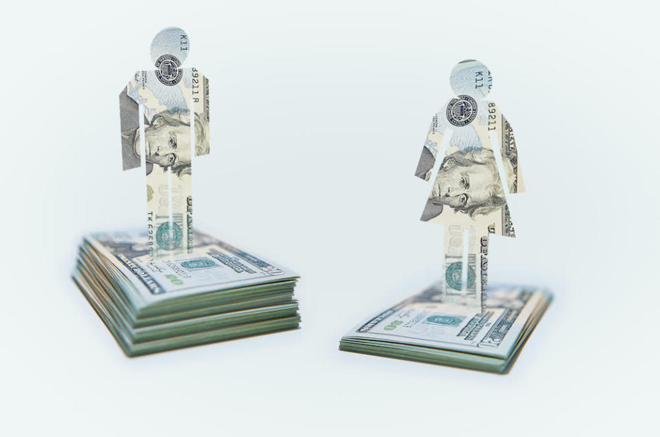 Male and Female Cut-out Figures on top of Bundles of Twenty USD United States Dollar Notes / Bills. Pile of Notes under Female Figure lower than that for the Male Figure.