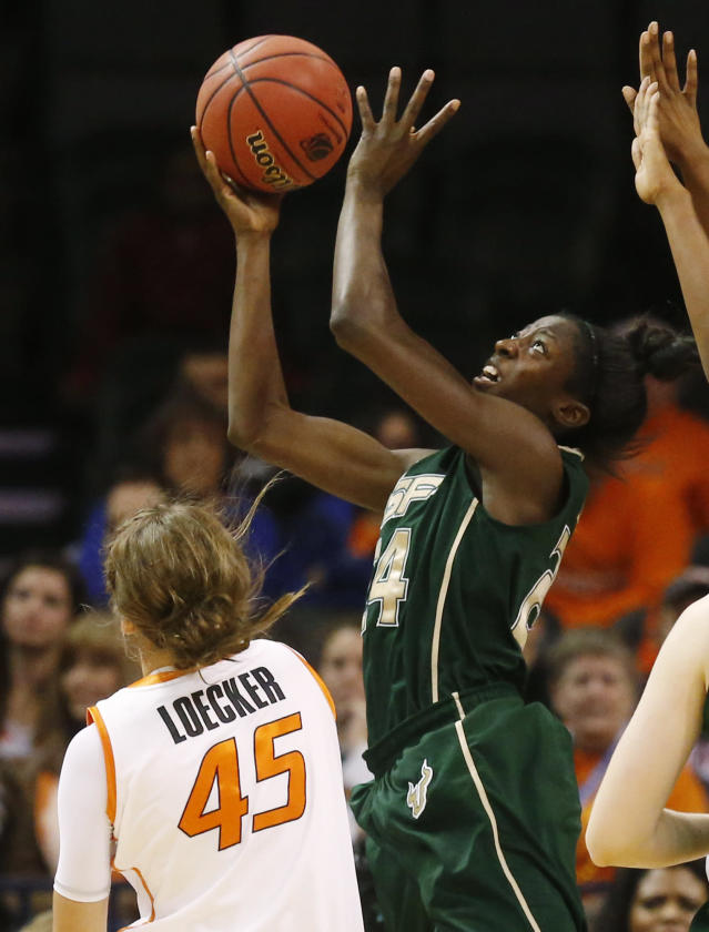 South Florida forward Alisia Jenkins (24) shoots in front of Oklahoma State forward Katelyn Loecker (45) in the first half of an NCAA college basketball game at the All College Classic in Oklahoma City, Saturday, Dec. 14, 2013. (AP Photo/Sue Ogrocki)