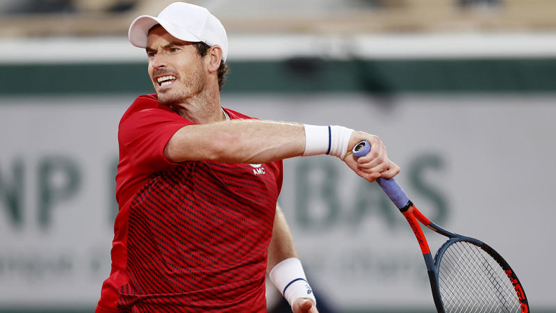 Andy Murray is pictured during his first round match at the French Open.