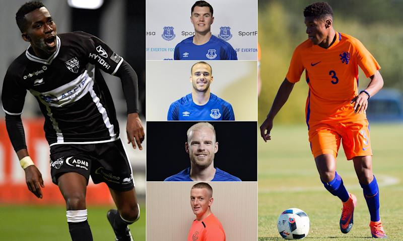 Six of Everton's signings last summer, from left: Henry Onyekuru, Michael Keane, Sandro Ramírez, Davy Klaassen, Jordan Pickford and Nathangelo Markelo.