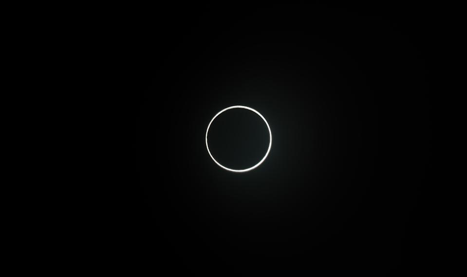 "With annular solar eclipses, the moon doesn't cover all of the sun. Instead, it leaves a brilliant ""ring of fire"" visible around its edge. The 2020 annular solar eclipse occurred on June 21, 2020. In this image, you can see the eclipse as it appeared on June 21, 2020 from  Xiamen, Fujian Province of China."