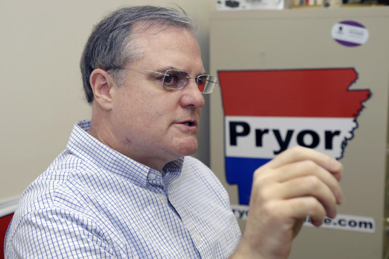 FILE - In this file photo taken Aug. 2, 2013, U.S. Sen. Mark Pryor is interviewed at his campaign office in Little Rock, Ark. Pryor is part of a string of Senate incumbents and challengers with long family ties who could help determine whether Democrats maintain their control of the Senate in the 2014 elections. (AP Photo/Danny Johnston, File)