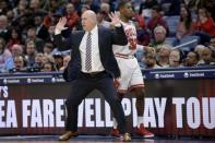 FILE - In this Wednesday, Jan. 8, 2020, file photo, Chicago Bulls head coach Jim Boylen reacts to a call next to Chicago Bulls guard Kris Dunn (32) in the second half of an NBA basketball game against the New Orleans Pelicans in New Orleans. The Chicago Bulls fired coach Jim Boylen on Friday, Aug. 14, 2020, as the new front office begins its remake of a team that missed the playoffs again. (AP Photo/Matthew Hinton, File)