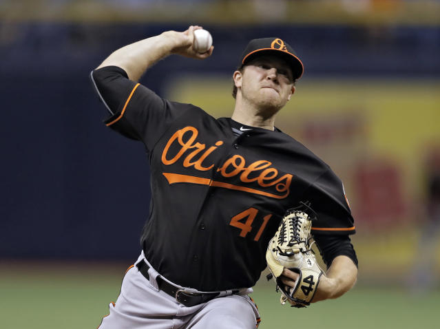 Baltimore Orioles relief pitcher David Hess delivers to the Tampa Bay Rays during the first inning of a baseball game Friday, May 25, 2018, in St. Petersburg, Fla. (AP Photo/Chris O'Meara)