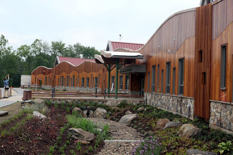 The front of the newly constructed Sandy Hook Elementary School.