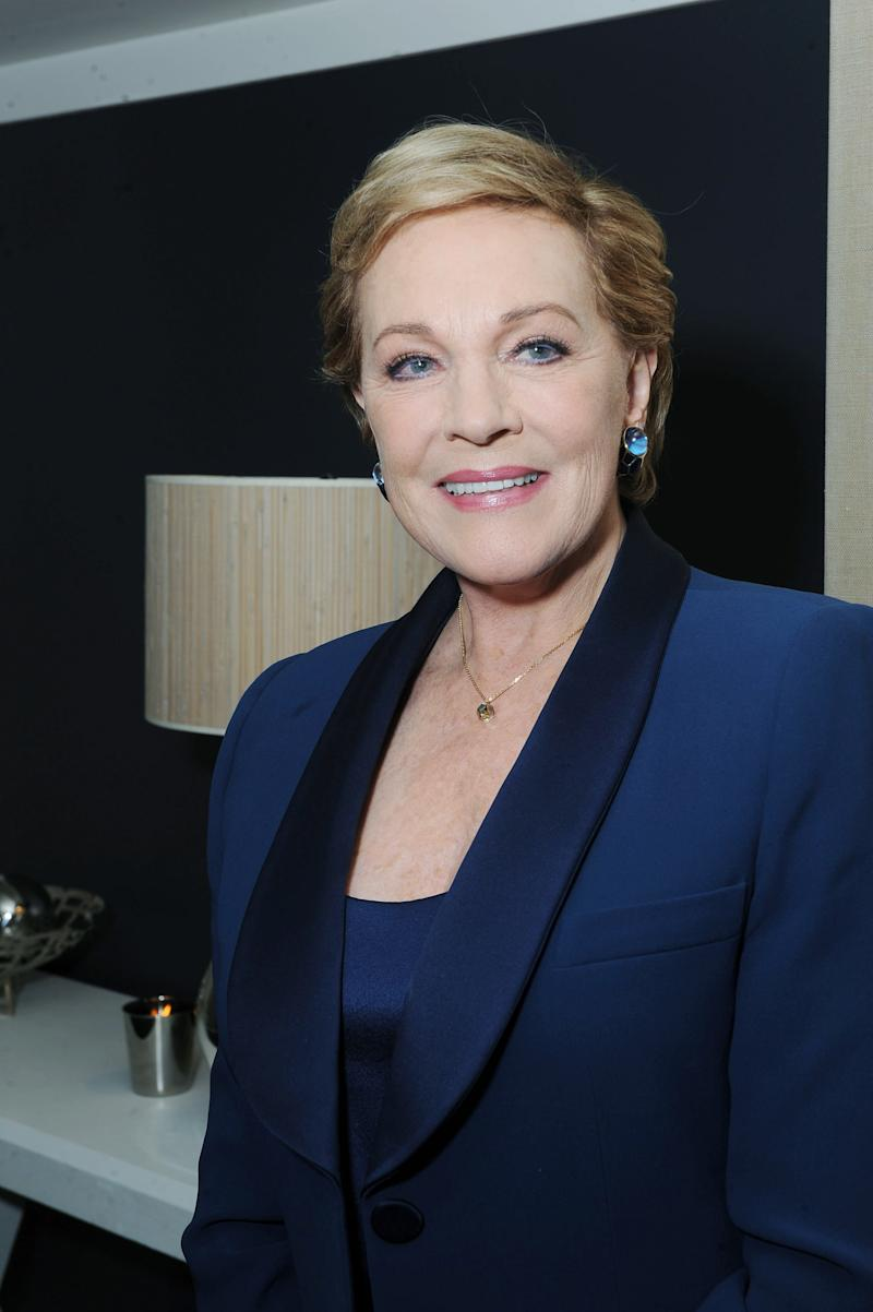 """In this May 2, 2011 photo, actress Julie Andrews poses for portraits at The W Los Angeles - Westwood Hotel in Westwood, Calif. Life after the passing of her husband director Blake Edwards began with something of a party, attended by friends, family and Hollywood colleagues. """"It was a good memorial,"""" Andrews recalled. """"It was. I wanted it to be fun. And I didn't want it to be maudlin or sad, because Blake wouldn't have wanted that.""""  (AP Photo/Katy Winn)"""