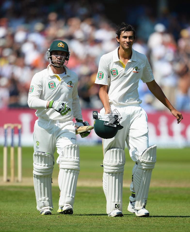 NOTTINGHAM, ENGLAND - JULY 11:  Ashton Agar (R) of Australia walks off with Phil Hughes after being dismissed by Stuart Broad of England for 98 runs during day two of the 1st Investec Ashes Test match between England and Australia at Trent Bridge Cricket Ground on July 11, 2013 in Nottingham, England.  (Photo by Laurence Griffiths/Getty Images)