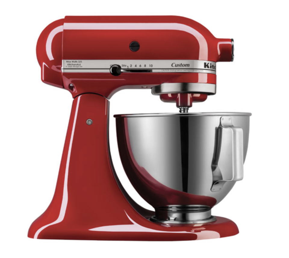red and silver KitchenAid Custom Stand Mixer