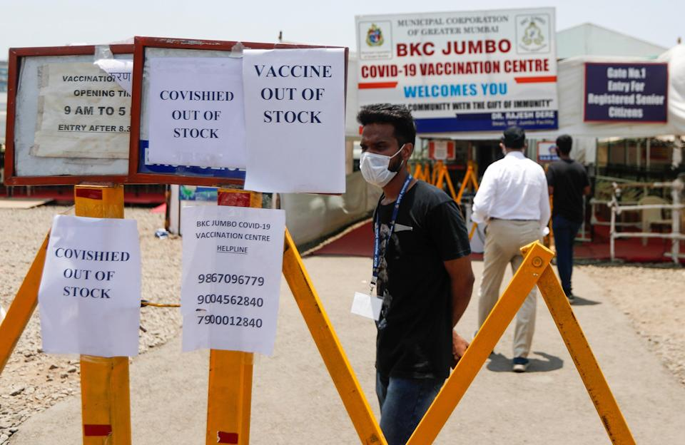 Notices about a shortage of vaccinations are displayed in MumbaiREUTERS