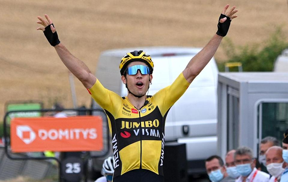 SAINT CHRISTO EN JAREZ FRANCE  AUGUST 12 Arrival  Wout Van Aert of Belgium and Team Jumbo  Visma  Celebration  during the 72nd Criterium du Dauphine 2020 Stage 1 a 2185km stage from Clermont Ferrand to Saint Christo en Jarez 752m  dauphine  Dauphin  on August 12 2020 in Saint Christo en Jarez France Photo by AnneChristine Poujoulat  PoolGetty Images