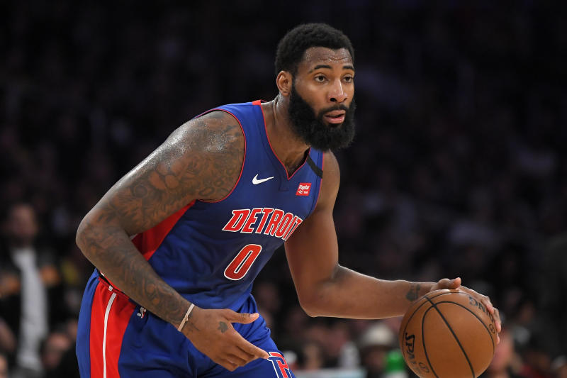 Detroit Pistons center Andre Drummond dribbles during the second half of an NBA basketball game against the Los Angeles Lakers Sunday, Jan. 5, 2020, in Los Angeles. The Lakers won 106-99. (AP Photo/Mark J. Terrill)