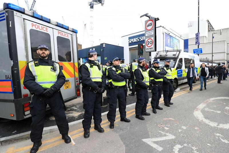 Police: Officers lined the roads before the match (PA)