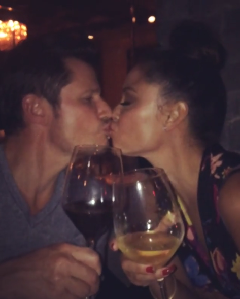 "<p>The TV host shared this pic of her post-<em>Dancing With the Stars</em> premiere celebration, smooching her husband, Nick Lachey, who is also her competition this season. ""Cheers Baby! Oh what a night! Couples bucket list! #TeamBabiesAndBallroom"" (Photo: <a href=""https://www.instagram.com/p/BZNdHUbgnvh/?taken-by=vanessalachey"" rel=""nofollow noopener"" target=""_blank"" data-ylk=""slk:Vanessa Lachey via Instagram"" class=""link rapid-noclick-resp"">Vanessa Lachey via Instagram</a>) </p>"