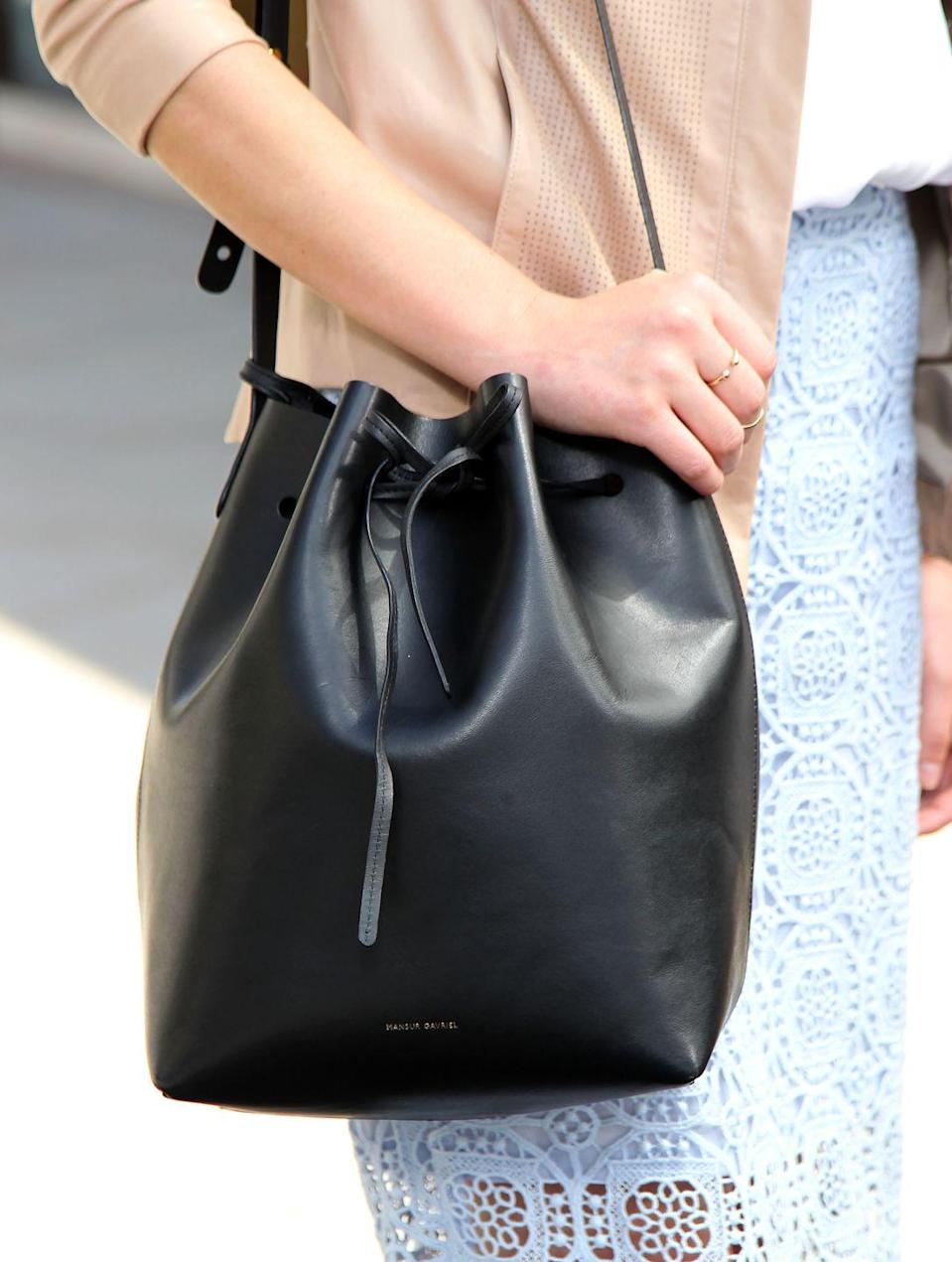 <p>Mansur Gavriel launched in 2012, and the label's bucket bag reached cult status by the following year. The leather material and drawstring closure gave the pieces a contemporary and chic aesthetic that everyone wanted to get their hands on. </p>