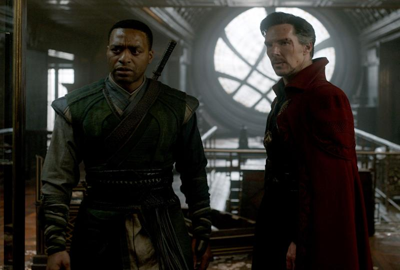 Chiwitel Ejiofor and Benedict Cumberbatch as Mordo and Strange - Credit: Marvel Studios/Disney