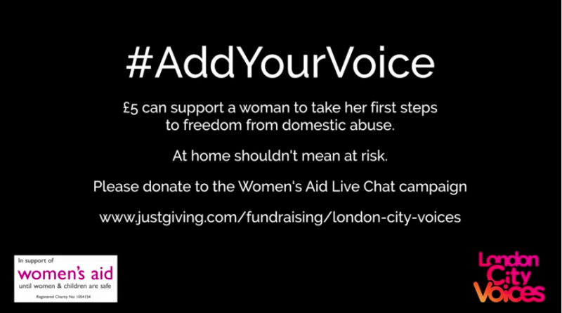 The song release raised £27K in three days to help keep the Women's Aid Live Chat hours open for longer. (London City Voices)