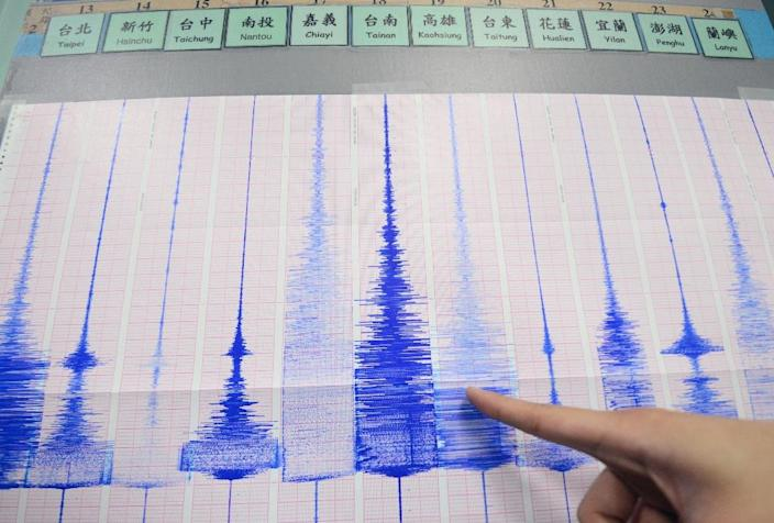 A member of Taiwan's Seismology Center points to a chart showing the earthquake activity detected by the central Weather Bureau in Taipei on April 20, 2015 (AFP Photo/Sam Yeh)