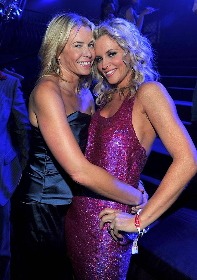 """Late-night talker Chelsea Handler and Jenny McCarthy hugged it out at the bash. Perhaps they talked about why Chelsea's fling with 50 Cent didn't turn into something more? Alberto E. Rodriguez/<a href=""""http://www.gettyimages.com/"""" target=""""new"""">GettyImages.com</a> - February 10, 2011"""