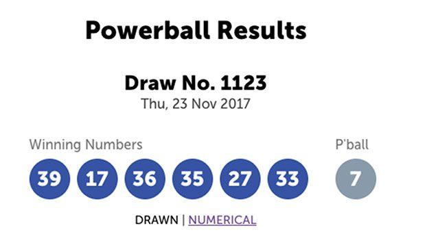 The winning numbers were 39, 17, 36, 35, 27 and 33. The Powerball was 7.