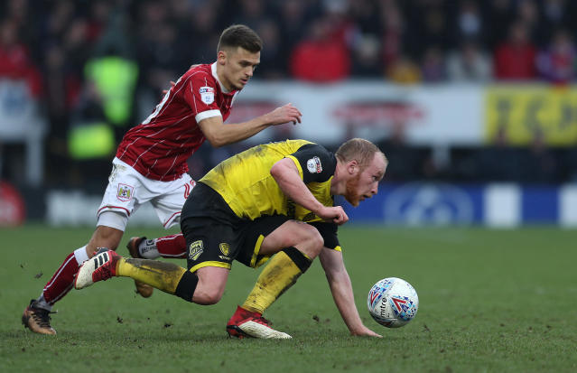 "Soccer Football - Championship - Burton Albion vs Bristol City - Pirelli Stadium, Burton-on-Trent, Britain - March 10, 2018 Bristol CityÕs Jamie Paterson in action with Burton AlbionÕs Liam Boyce Action Images/John Clifton EDITORIAL USE ONLY. No use with unauthorized audio, video, data, fixture lists, club/league logos or ""live"" services. Online in-match use limited to 75 images, no video emulation. No use in betting, games or single club/league/player publications. Please contact your account representative for further details."