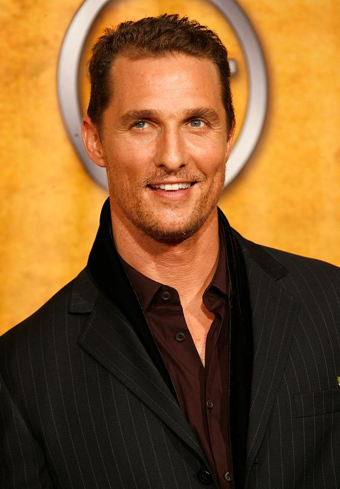 """<a href=""""http://movies.yahoo.com/movie/contributor/1800018907"""">Matthew McConaughey</a> in the press room at the 14th Annual Screen Actors Guild Awards - 01/27/2008"""