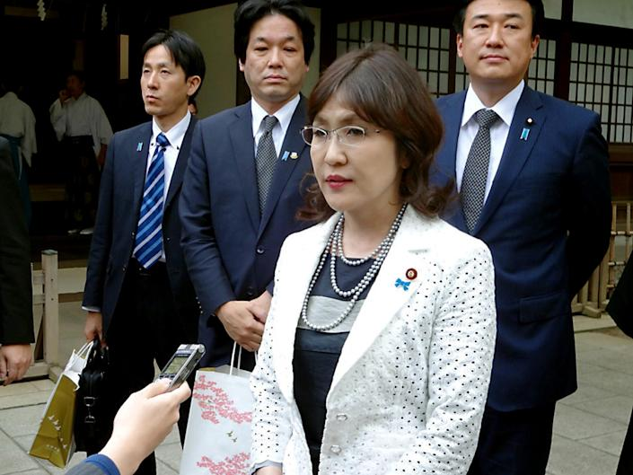 Party policy chief Tomomi Inada speaks to reporters after she visited the controversial Yasukuni Shrine to honour the war dead on April 28, 2014 in Tokyo (AFP Photo/Jiji Press)