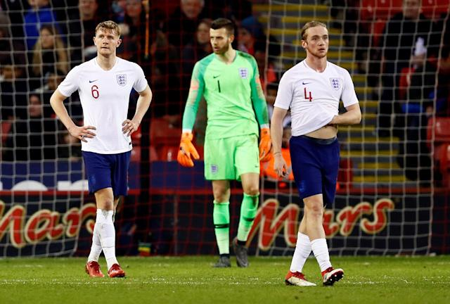 Soccer Football - European Under 21 Championship Qualifier - England vs Ukraine - Bramall Lane, Sheffield, Britain - March 27, 2018 England's Joe Worrall, Angus Gunn and Tom Davies are dejected after conceding the first goal Action Images via Reuters/Jason Cairnduff