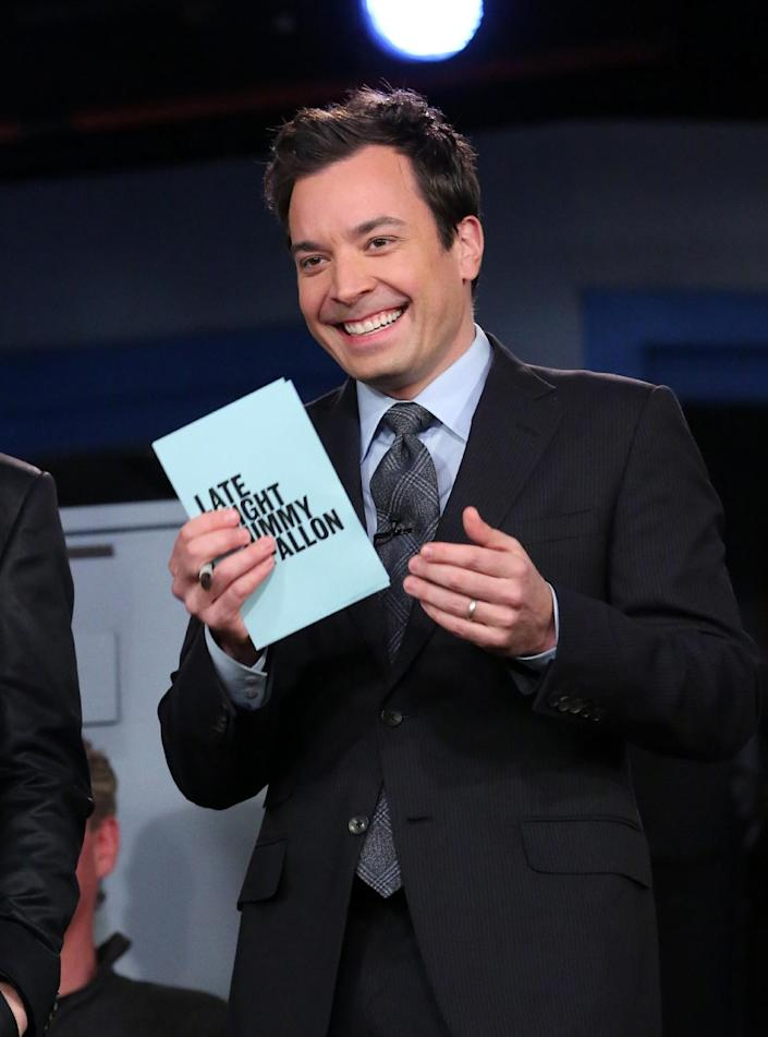 """This Feb. 18, 2013 photo released by NBC shows Jimmy Fallon, host of """"Late Night with Jimmy Fallon,"""" on the set in New York. NBC announced Wednesday, April 3, 2013 that Jimmy Fallon is replacing Jay Leno as the host of """"The Tonight Show"""" in spring 2014. (AP Photo/NBC, Lloyd Bishop)"""