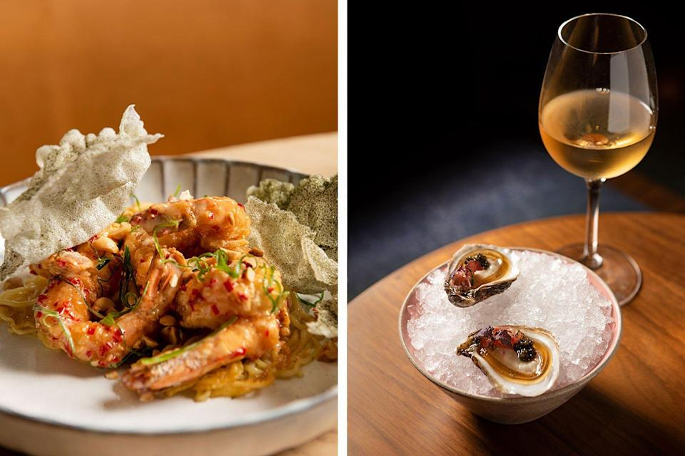 Left: shrimp and fish skin; Right: oysters and wine